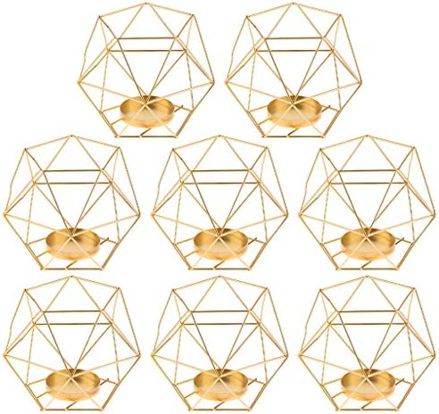 FLAMEER 8-Set Geometric Polished Tealight Candle Holder Table Top Centerpiece Weddings Events Parties Decor
