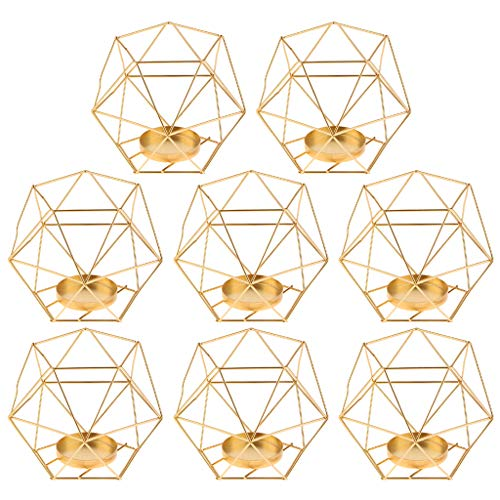 - Flameer 8-Set Geometric Polished Tealight Candle Holder Table Top Centerpiece Weddings Events Parties Decor - Golden