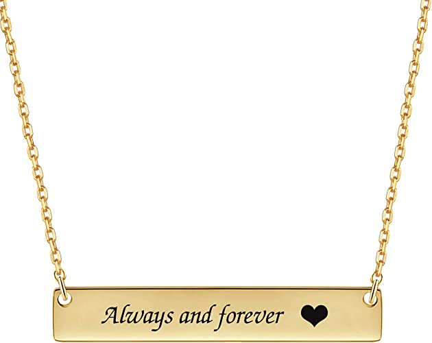 Fashionable Trendy Unique Design Gold Dainty Love Engraved Bar Pendant Necklace