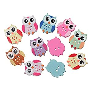 PEPPERLONELY Brand 100PC Mixed 2 Hole Owl Wood Buttons Scrapbooking Sewing Buttons 21mm x17mm( 7/8 Inch x 5/8 Inch)