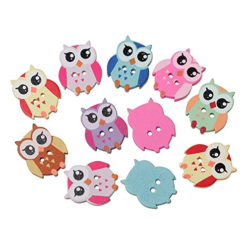 PEPPERLONELY Brand 8PC Mixed 2 Hole Owl Wood Buttons Scrapbooking Sewing Buttons 21mm x17mm(7/8 Inch x 5/8 Inch)