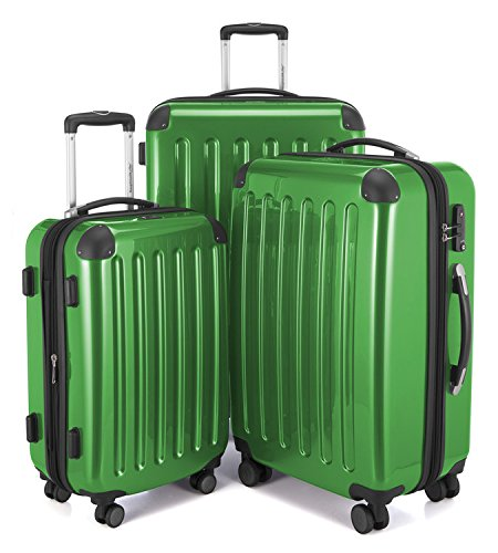 Suitcase Green (HAUPTSTADTKOFFER Luggages Sets Glossy Suitcase Sets Hardside Spinner Trolley Expandable (20', 24' & 28') TSA (Green))