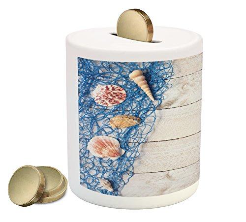 Lunarable Rustic Piggy Bank, Marine Nautical Composition on an Oak Backdrop Shell Fishing Net Web Summer Image, Printed Ceramic Coin Bank Money Box for Cash Saving, Blue Brown
