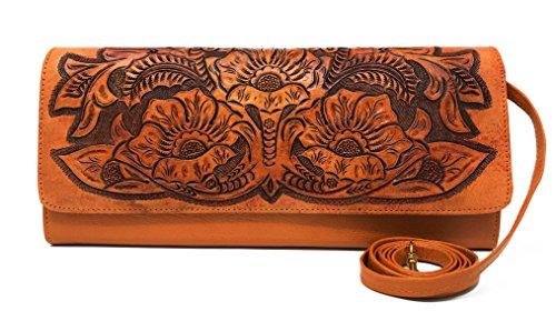 Florence Vintage Floral Artisan Leather Handmade Clutch Convertible Crossbody Designer Gift for Women ()