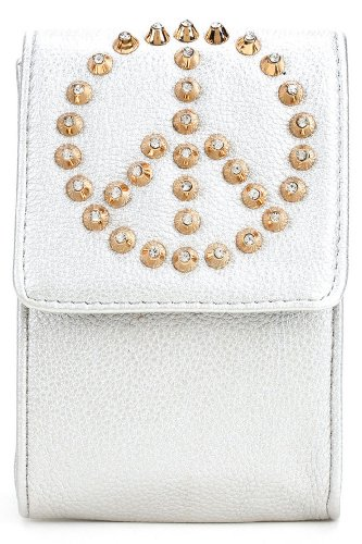 Vintage Design Metallic Studded Peace Sign Cell Phone Pouch Case - Faux Leather
