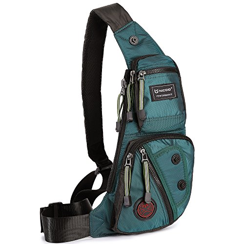 Nicgid Sling Bag Chest Shoulder Backpack Fanny Pack Crossbody Bags for Men(Dark green)