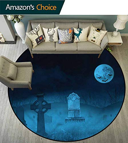 RUGSMAT Gothic Super Soft Circle Rugs for Girls,Ghostly Graveyard Halloween Nursery Rugs Round-71]()