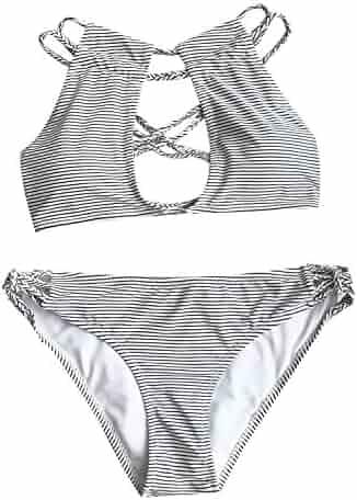 64b1747622 CUPSHE Women s Love More Stripe Bikini Set Beach Swimwear Bathing Suit (S)