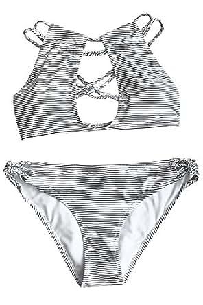 CUPSHE Fashion Women's Love More Stripe Bikini Set Beach Swimwear Bathing Suit (S)