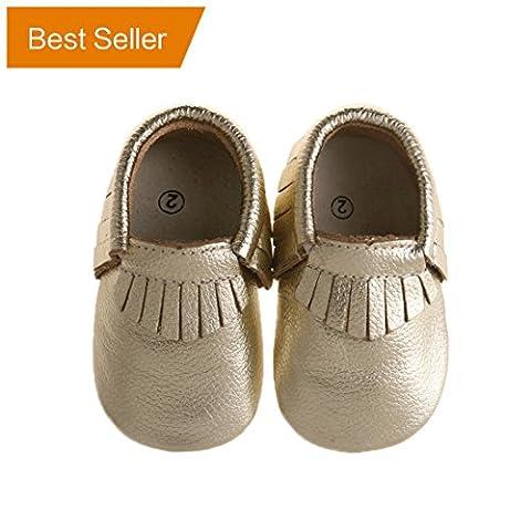 Pidoli Baby Girls Genuine Leather Soft Sole Moccasins Infant Toddler (2 12cm 4.72