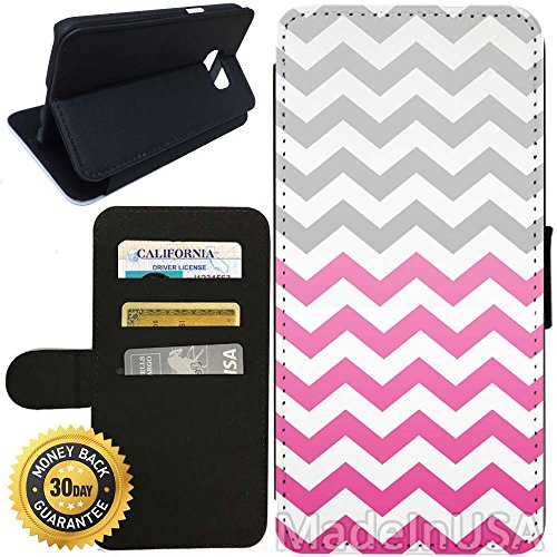 Flip Wallet Case for Galaxy S7 (Pink Fade Chevron Zigzag) with Adjustable Stand and 3 Card Holders | Shock Protection | Lightweight | Includes Stylus Pen by Innosub