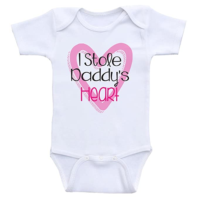 d10cfded3d6e8 Amazon.com: Heart Co Designs Baby Girl Onesies I Stole Daddy's Heart ...