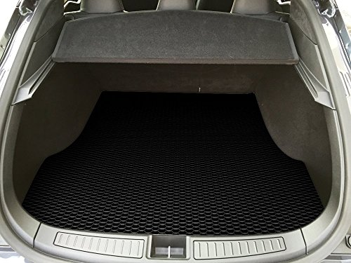 ToughPRO Tesla Model S Trunk Mat - All Weather Heavy Duty - Black Rubber - (2012-2018) (Cargo Mat Model)