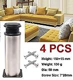 4x Cabinet Legs Kitchen Feet Worktop/Unit/Breakfast Bar/Desk Table Legs Furniture Legs - Chrome Metal - Adjustable Height (Total:150-165mm)
