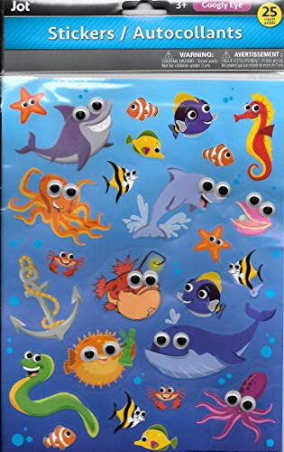 JOT Ocean SEA Creatures Fish Googly Eyed Stickers (25 Count) Plastic Eyed Various SEA Life]()