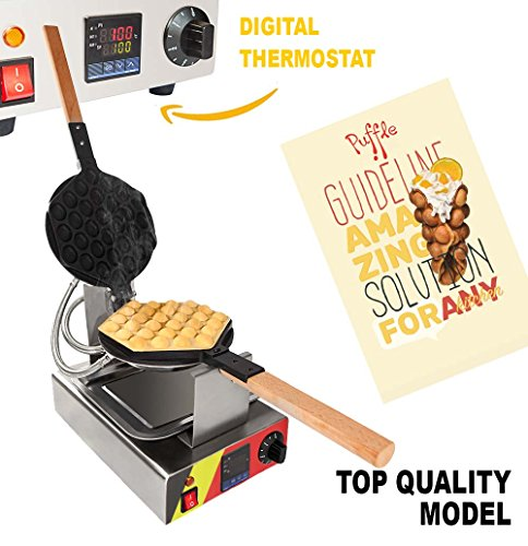 TOP Version Puffle Waffle Maker Professional Rotated Nonstick (Grill / Oven for Cooking Puff, Hong Kong Style, Egg, QQ, Muffin, Cake Eggettes and Belgian Bubble Waffles) (DIGITAL THERMOSTAT)