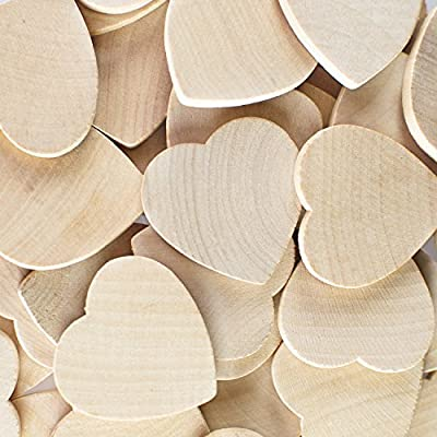 "Round Heart Shaped Unfinished 1.3"" Wood Cutout Circles Chips for Board Game Pieces, Arts & Crafts Projects, Ornaments (50 Pieces) by Super Z Outlet"