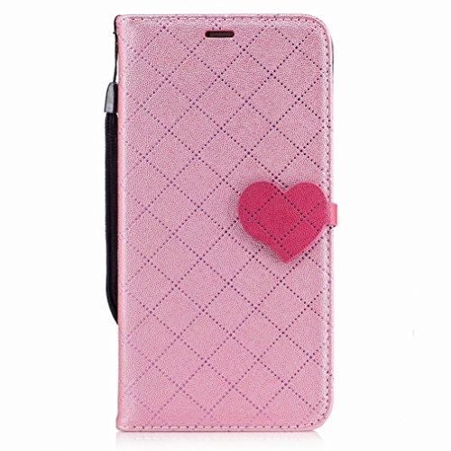 Yiizy Huawei Mate 9 Custodia Cover, Amare Design Sottile Flip Portafoglio PU Pelle Cuoio Copertura Shell Case Slot Schede Cavalletto Stile Libro Bumper Protettivo Borsa (Rosa)