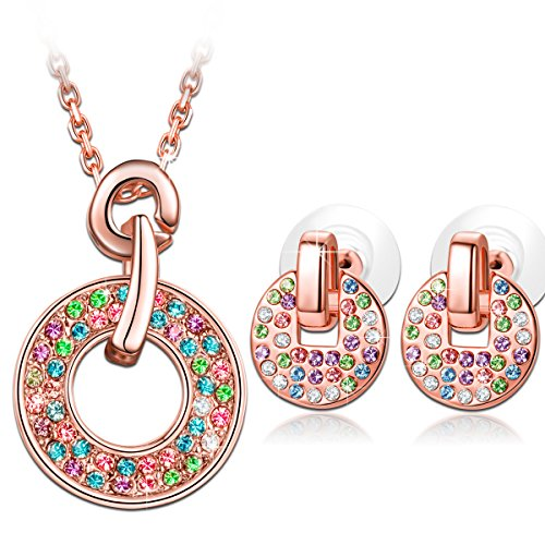 "LadyColour Valentines Day Gifts ""Rainbow"" Multicolored Jewelry Set Made with Swarovski Crystals, Women Fashion Pendant Necklace and Stud Earrings Set, Birthday Gifts Anniversary Gifts Christmas Gifts"