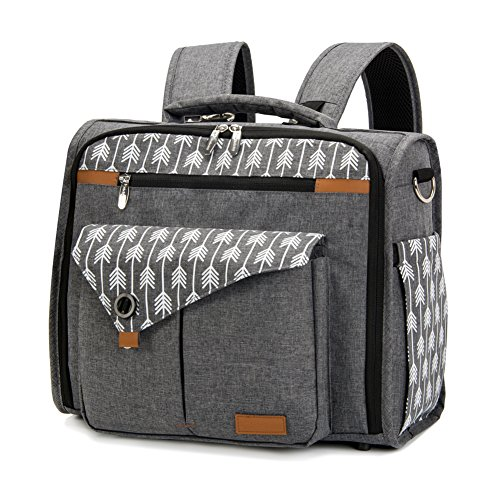 Lekebaby Convertible Diaper Bag Backpack for Mom Can Be Used as Tote Diaper Bag and Messenger Diaper Bag, Arrow Print