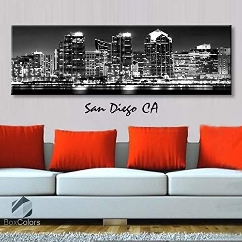 BoxColors - Single panel 3 Size Options Art Canvas Print San Diego CA City Skyline Panoramic Downtown Night black & white Wall Home Office decor (framed 1.5