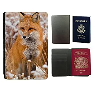 Super Stella PU Leather Travel Passport Wallet Case Cover // M99999982 Fox Animal Pattern // Universal passport leather cover