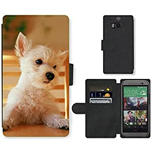 Hot Style Cell Phone Card Slot PU Leather Wallet Case // M99999824 Dog Puppy Pattern // HTC One M8