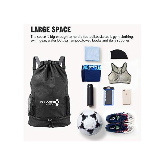 51X4nQi6PGL 【Bolsa Deportiva de Gran Capacidad 】talla de la mochila: de largo 31,5 cm, de ancho 16 cm ,de alto 47 cm. la mochila es muy ligero y fácil de llevar. Adecuado para llevar la mayor parte de los artículos deportivos,ropa,libro a mismo tiempo. 【Es Impermeable y Ligera】la mochila está hecha de tela de nylon de alta calidad, que es ligero y fácil de almacenar. El material de la mochila es repelente al agua, muy fuerte y resistente al desgaste, y no habrá problemas incluso con lluvia. Se puede como mochilas deportivas al aire libre, mochila de viaje, mochilas casual o mochila escolar. 【Diseño de Bosillo Razonable y Fácil de Limpiar】tiene una compartimento impermeable desmontable dentro de la mochila para guardar ropa de baño mojada, toallas, artículos de tocador, etc., especialmente otro compartimento independiente en la parte inferior puede llevar balones de fútbol o zapatos. el cual es muy útil para separarlos de la otros cosas del interior de la mochila.