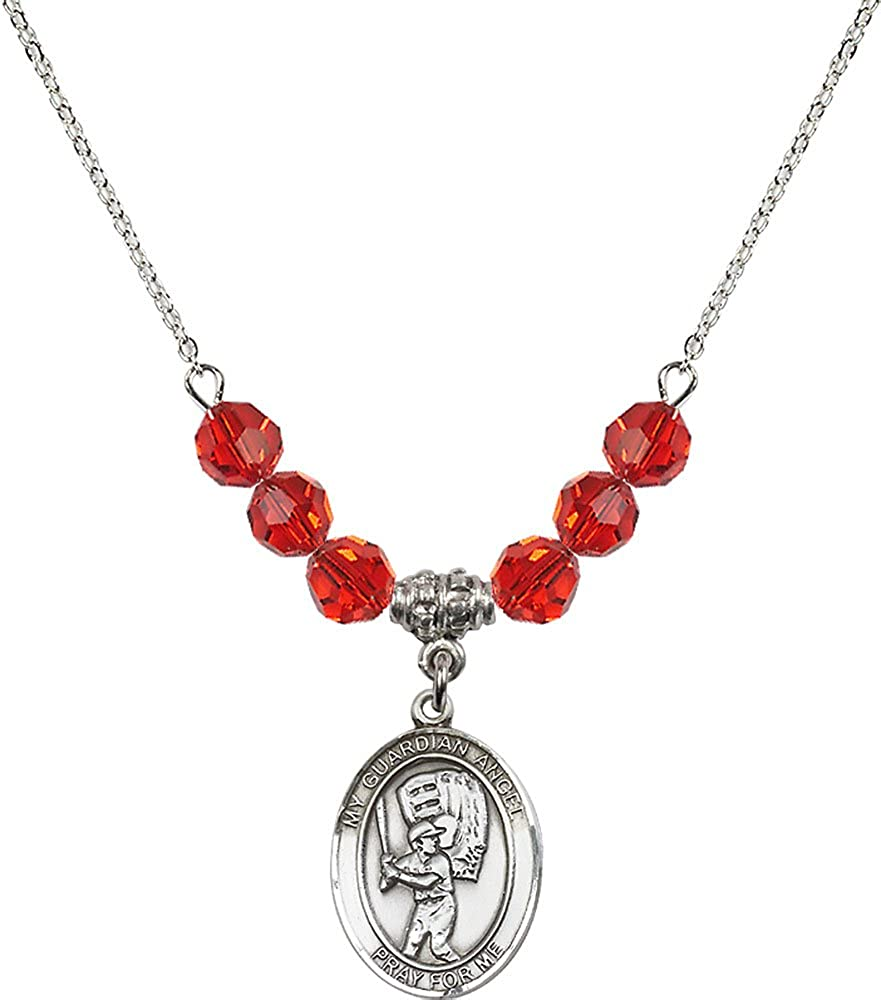 18-Inch Rhodium Plated Necklace with 6mm Ruby Birthstone Beads and Sterling Silver Guardian Angel//Baseball Charm.