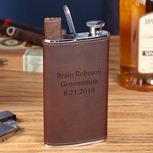 (Tattenbaum Custom Leather Flask & Cigar Holder)