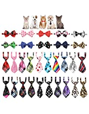 YUEPET 30 Pieces Pets Dog Bow Ties & Neckties Assorted Adjustable Dog Bow Ties Birthday Photography Festival Party Neckties Pet Costume Necktie Collar Grooming Accessories for Puppy Dogs Cats