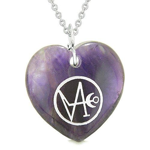Archange Gabriel Sigil Magic Planet Energy Amulette PUFFY Cœur Violet à quartz Pendentif Collier de 55,9cm
