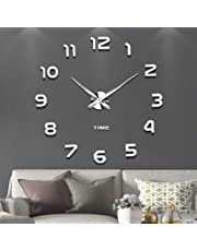 Modern Mute DIY Frameless Large Wall Clock 3d Mirror Sticker Metal Big Watches Home Office Decorations