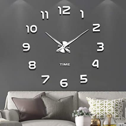 6a9eb2848 VANGOLD Modern Mute DIY Frameless Large Wall Clock 3D Mirror Sticker Metal Big  Watches Home Office Decorations 2 Years Warranty (Silver-2)  Amazon.co.uk   ...