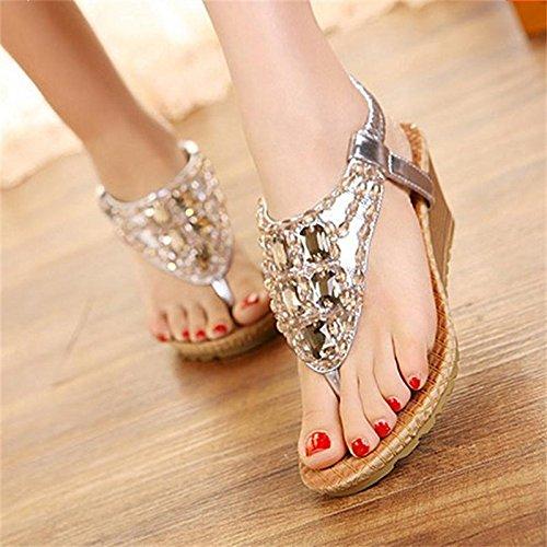 EU37 Femme Sandales De Avec Les Épais SHOESHAOGE High Pour Forage Bohême De De Chaussures Heeled L'Eau Femmes Plage Clip Chaussures Pente Perles qEIXz1w