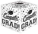 Black and White Grad Graduation Party Greeting Card Holder Box Cardboard, 12 inch