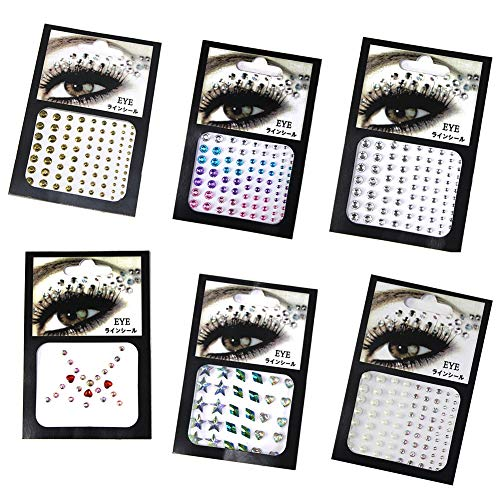 CheeseandU 6Pcs 3D Eyes Body Face Jewelry Acrylic Rhinestone Stickers Glitter Flash Crystal Eyes Temporary Tattoo DIY Nail Art Decorations Fashion Face Stickers for Women Party Festival Accessory