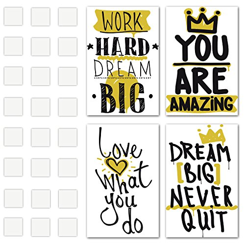 Set of 4 Inspirational Wall Art Decor - Unique Motivational Posters - Inspire Success Prints - Perfect Canvas for Bedrooms, Dorms, Living-Rooms, Classrooms with Quotes - Happiness Decoration for Home (Art Inspirational Wall Sets)