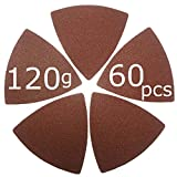 XXGO 60 Pcs 120 Grits Triangular 3-1/8 Inch Hook & Loop Abrasive Multitool Sandpaper for Wood Sanding Fit 3-1/8 Inch Oscillating Multi Tool Sanding Pads