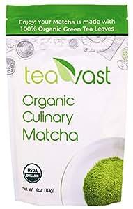 Matcha Green Tea Powder, Organic & Vegan, Culinary Grade (Iced Latte, Smoothie, Iced Matcha, Ice Cream, Baking, Dessert) Sugar Free, Antioxidants, Energy - Teavast 4oz 113g