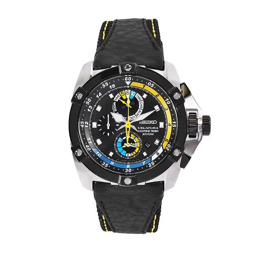 (Seiko Men's SPC049 Velatura Black Leather Black Chronograph Dial Watch)