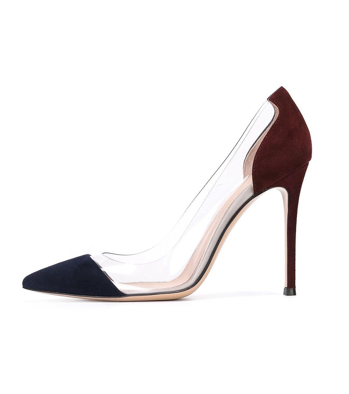 DYF Frauen nackt Scharfe feine Schuhe High High High Heel Transparent Office, 10 cm, blau + Rot, 38 - d7106c