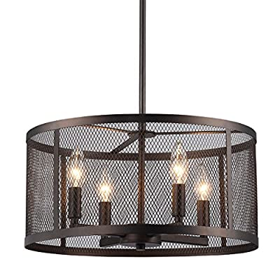 Edvivi Aludra 4-Light Round Metal Mesh Shade Pendant Chandelier Oil Rubbed Bronze | ORB