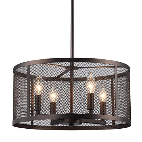 Audra Round Metal Mesh Shade 4-Light Pendant Chandelier Oil-Rubbed - Bronz Metal