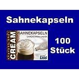 100 Stück Liss Sahnekapseln, geeignet für handelsübliche Sahnebereiter von Liss, Mosa, Kayser, isi