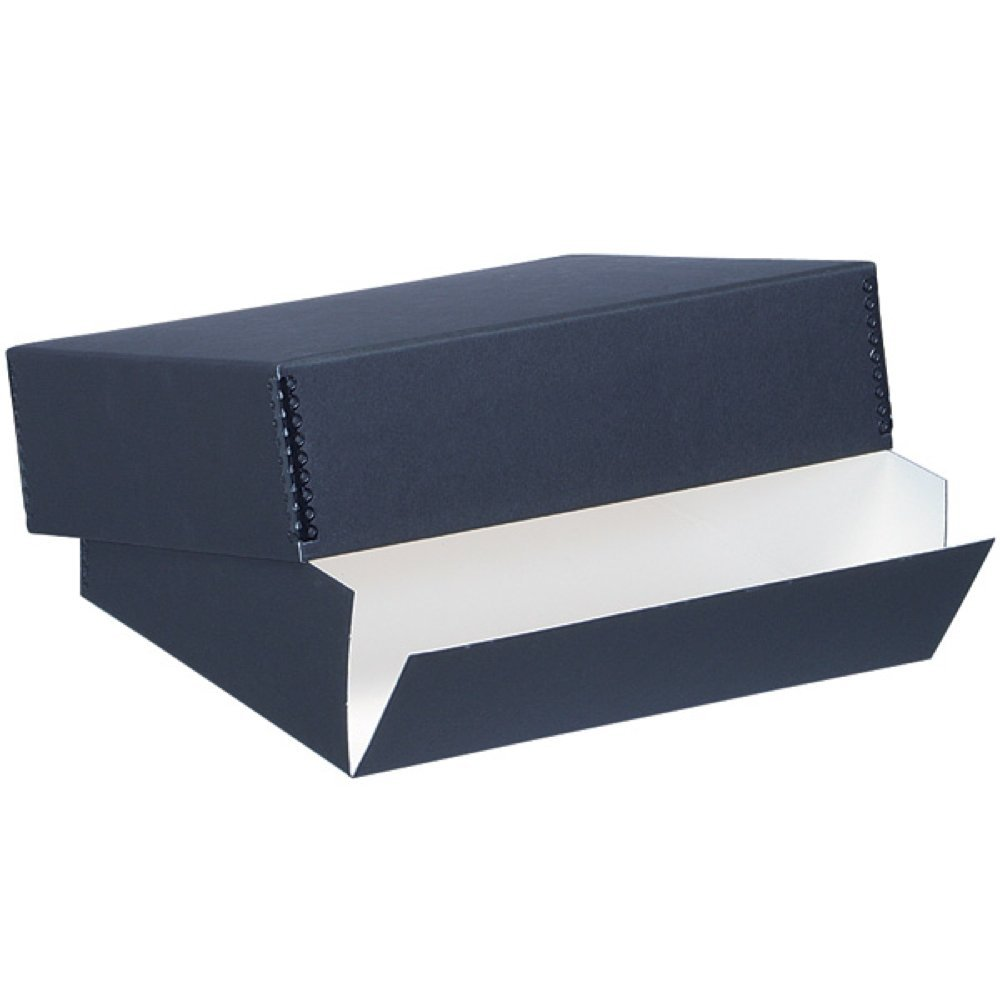 Lineco Museum Archival Drop-Front Storage Box, Acid-Free with Metal Edges, 20.5 X 24.5 X 3 inches, Black (733-2124)