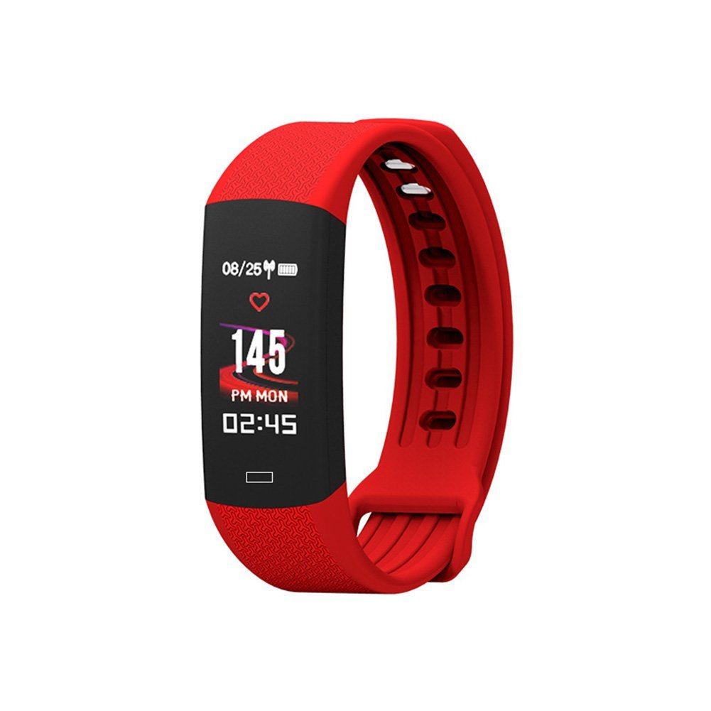 Smart Bracelet, Bluetooth Activity Tracker Heart Rate Monitor Alarm Clock Long Seat Reminder Self-Timer Watch for Android iOS (Red)