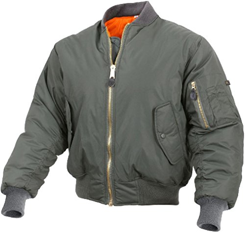 Military Air Force Style Enhanced Nylon MA-1 Insulated Flight Jacket Bomber Coat