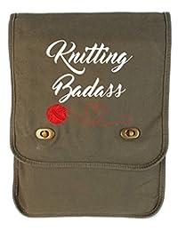 Tenacitee Knitting Badass Khaki Green Canvas Field Bag