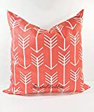 Coral & White Arrow Pillow cover. Sham cover. throw Pillow cover. Select size.